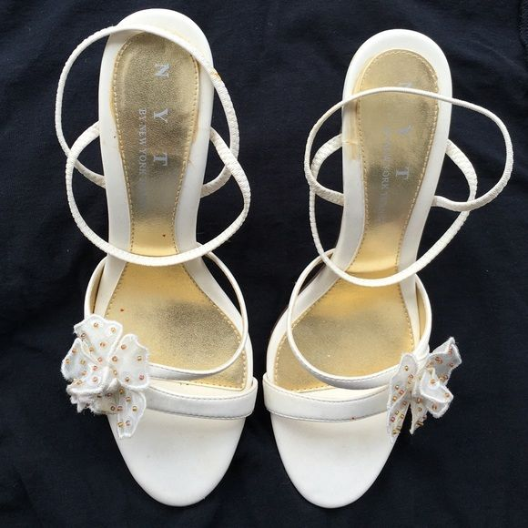 White strappy sandals With two inch stilleto heel Shoes Heels