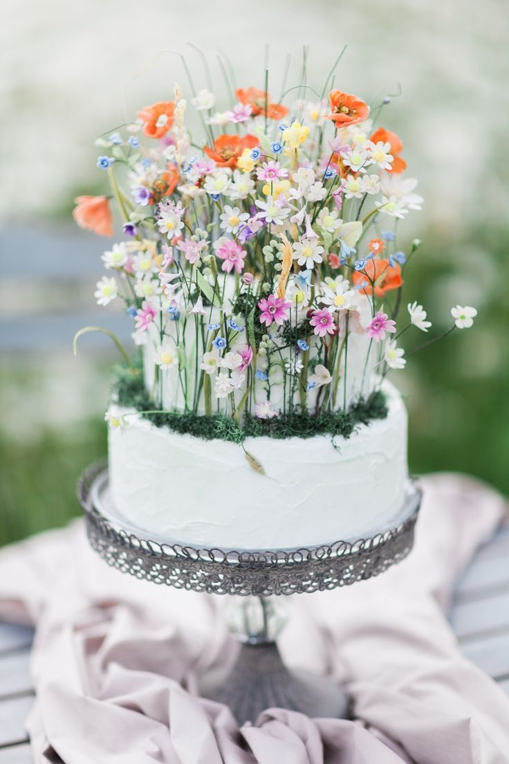 Unique and special wildflower wedding cake.