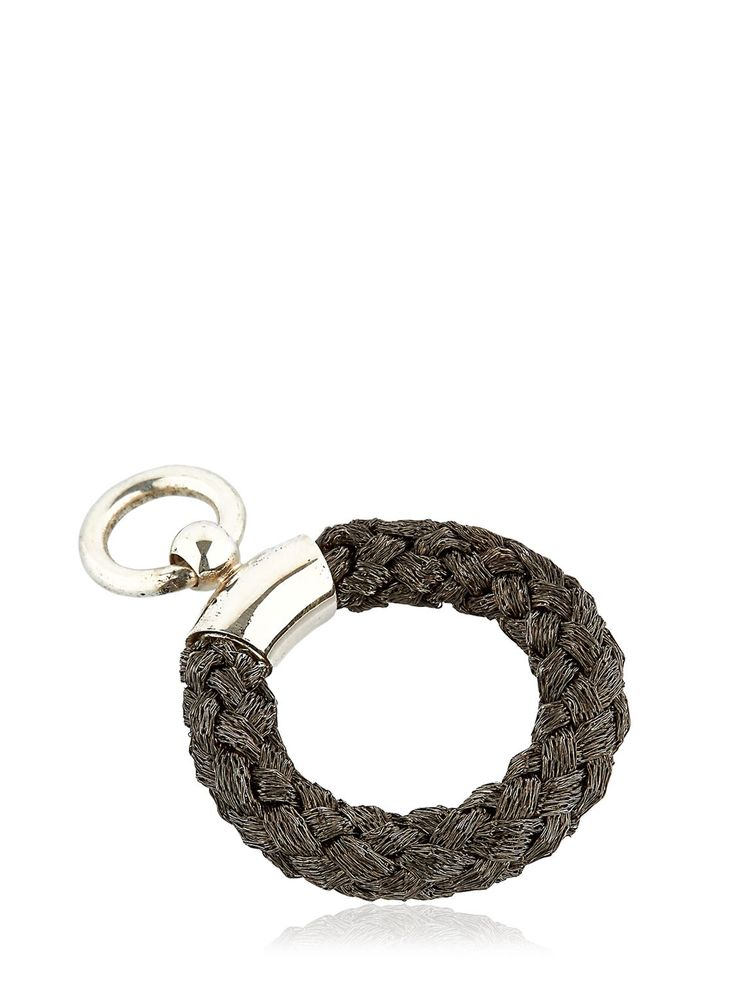 Created exclusively for LUISAVIAROMA. Black rhodium plated sterling silver. Woven silver thread. One metal detail with ring