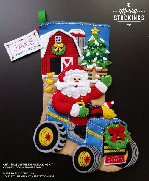 Christmas on the Farm stocking kit. Exclusively from MerryStockings, made by Bucilla.