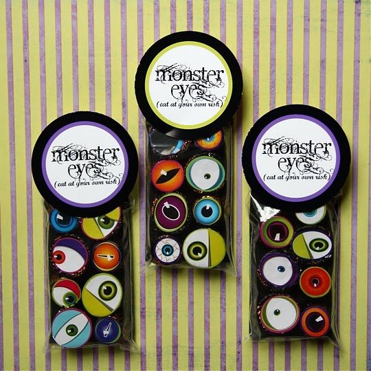 eyeball stickers on candy with tag--love these. this site has the BEST printables ever for every occasion. love beth's work. www.bethproudfoot.blogspot.com: Monster Party, Monstereyes, Monsters, Halloween Treats, Free Printable, Party Ideas, Halloween Ideas