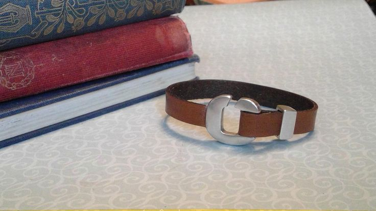 Brown Leather bracelet will silver hook clasp by BrandedCreed on Etsy