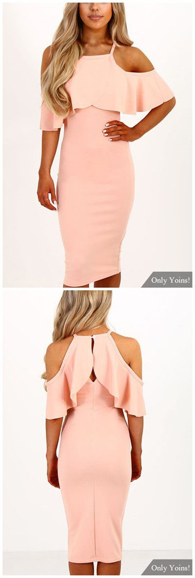 Pink Cold Shoulder Tiered Dress