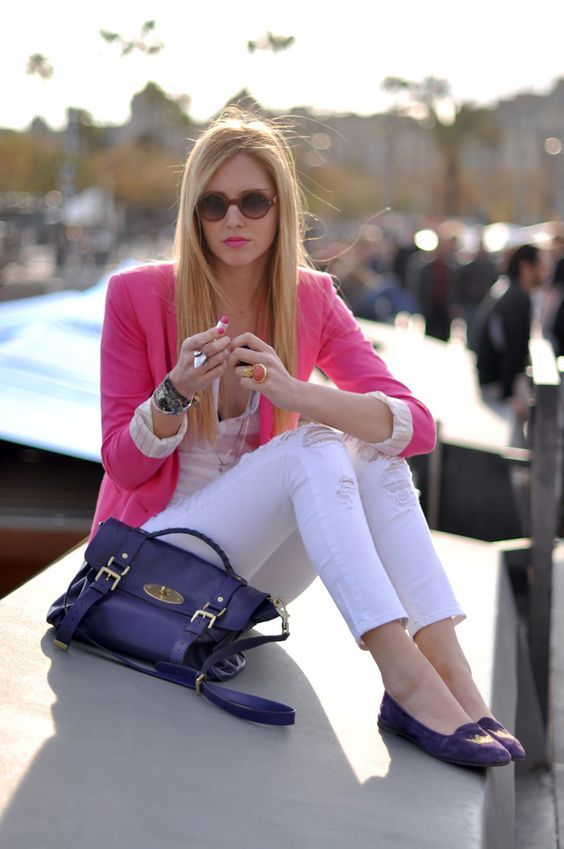 I have a pink blazer and white jeans.