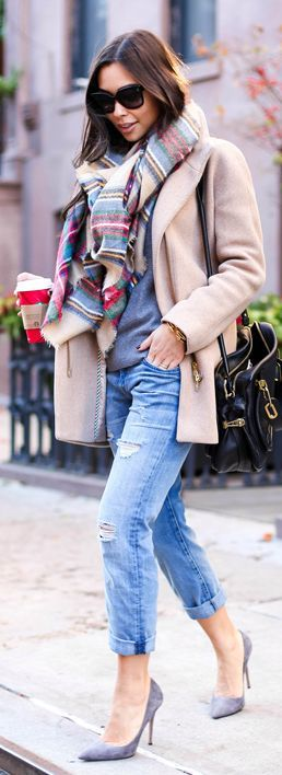 Grey Suede Heels,warm scarf and ripped jeans