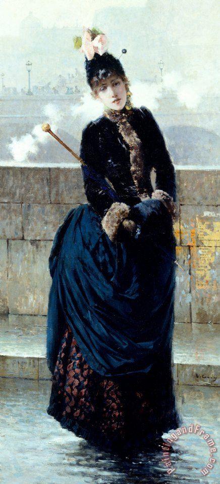 Vittorio Matteo Corcos Lady On Bridge In Paris painting - Lady On Bridge In Paris
