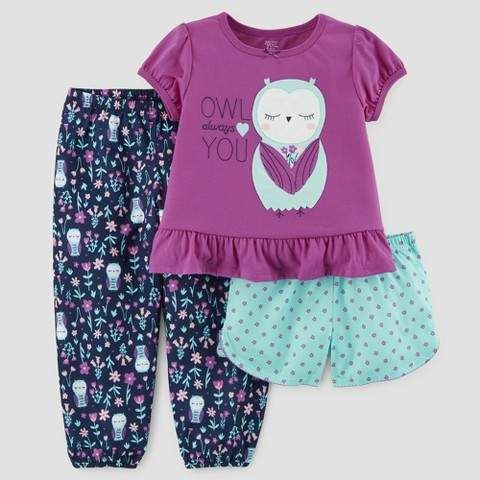 Carters Baby Girl 2pc Purple Owl Pajama Set Sleepwear Clothing, Shoes & Accessories