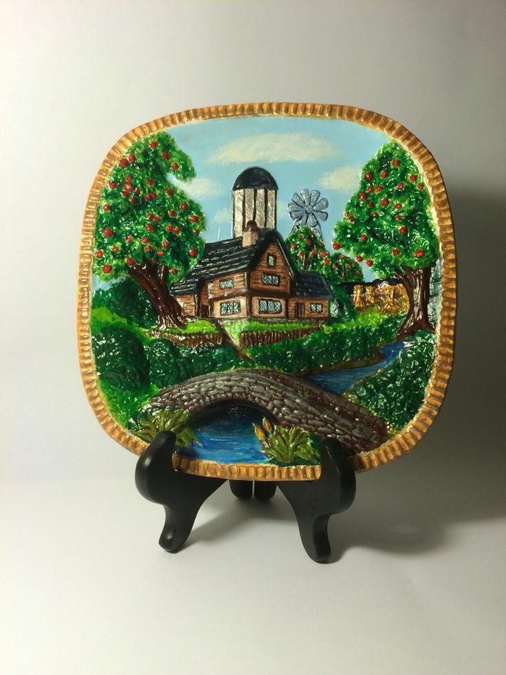 Ceramic painting. Farmhouse scene.