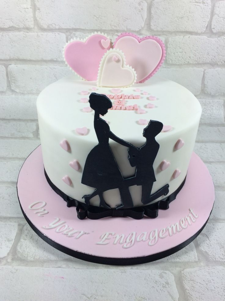 Silhouette engagement cake | fondant love & ♥ in 2019 ...