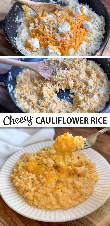 Easy Cheesy Cauliflower Rice Keto Low Carb Recipe Keto