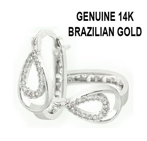 Genuine 14K White Brazilian Gold Filled One Line Round Huggies #RM #Huggie