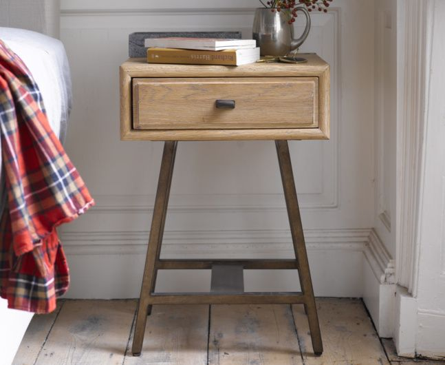 Inspired by a 1940's sideboard spotted in a Parisian market, our Campaign makes a lovely bedside table. With vintage feel brass legs.