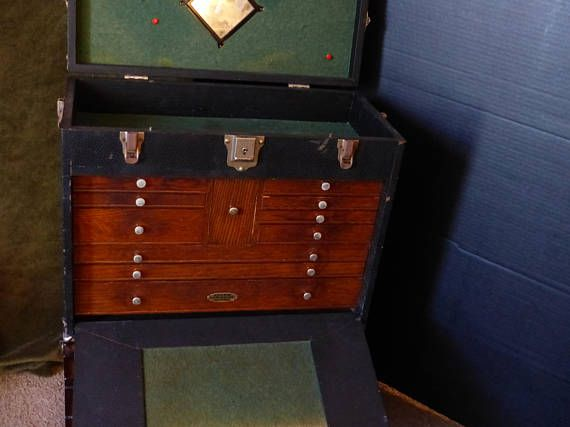 This vintage tool chest has a neat center drawer between the thinner outer sets. It belonged to a machinist who was also an inventor. Sometimes a personal well thought out gift shows you took the time to care about that special person in your life. Our items are classic, sometimes unusual and vintage and sometimes a little bizarre. Whether it is a memory from their past or something that reminds you of how special they are, purchasing from us is a unique idea that you can't get from a store…