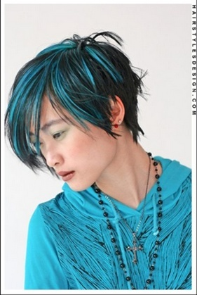 Electric Blue Colored Hair Streaks          - PRETTY PRIMPING!