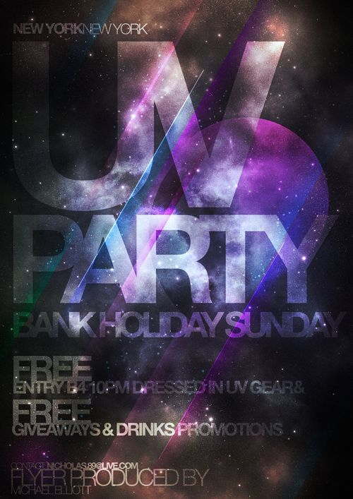 Night Club Flyer – UV Party Bank Holiday -MG