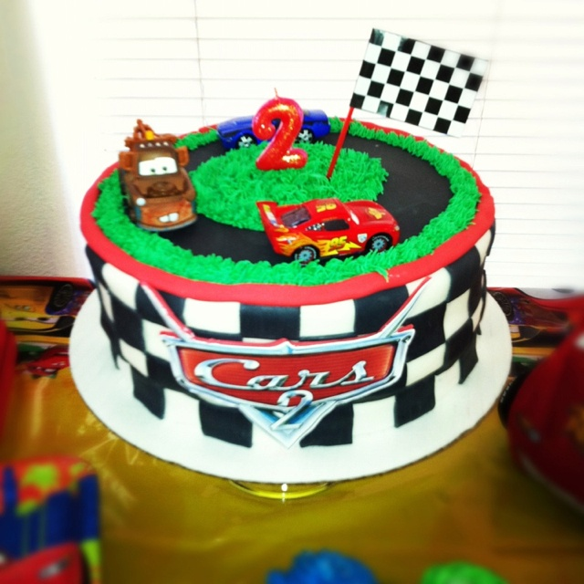Cars Theme Cake For My Son's 2nd Bday!