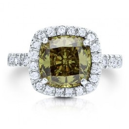 Sterling Silver 925 Peridot Green Cushion cut Cubic Zirconia CZ Ring  style number: r238-06 from Berricle