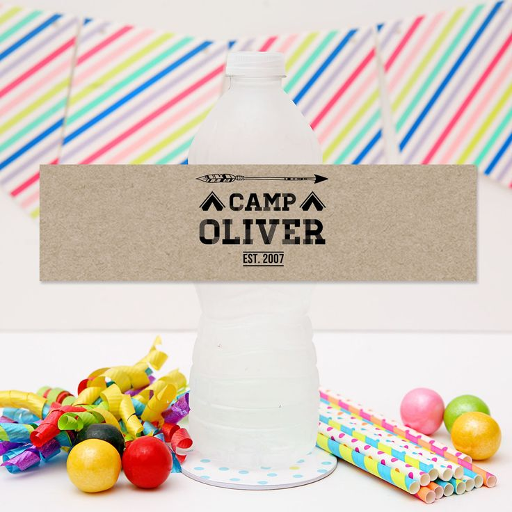 Camping Drink Labels | Camping Party Personalised Water Bottle Labels.  Click to see details and for more matching camping party printables from Print & Party. #campingparty