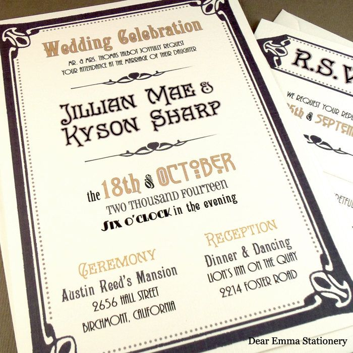 40d46ad2a77fa4b96861443f4716b310 art deco wedding invitations wedding invitation wording 19 best vintage wedding invitations images on pinterest,Invitation And Response Card Set