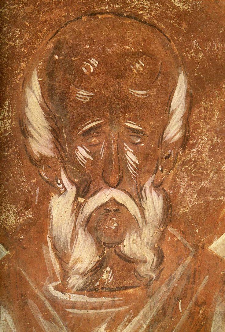 Столпник Симеон старший, лик, церковь Спаса Преображения на Ильине улице, Феофан Грек, 1378 г.