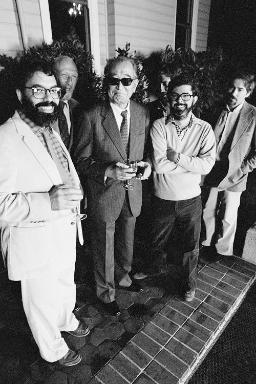 Directors Francis Ford Coppola, Irvin Kershner (The Empire Strikes Back), Akira Kurosawa, Steven Spielberg, George Lucas, Carroll Ballard at Coppola's house in San Francisco, photographed by Roger Ressmeyer, 1980.