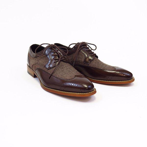 Men's Wool Tweed/ Leather Shoes -Brown