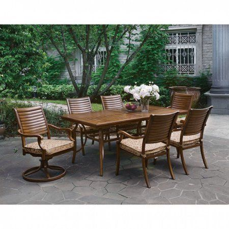 Desiree Transitional Patio Dining Table, Brown