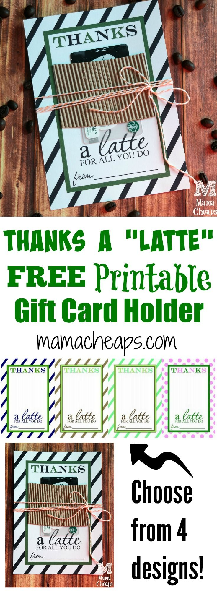 Thanks a Latte Gift Card Holder Free Printables