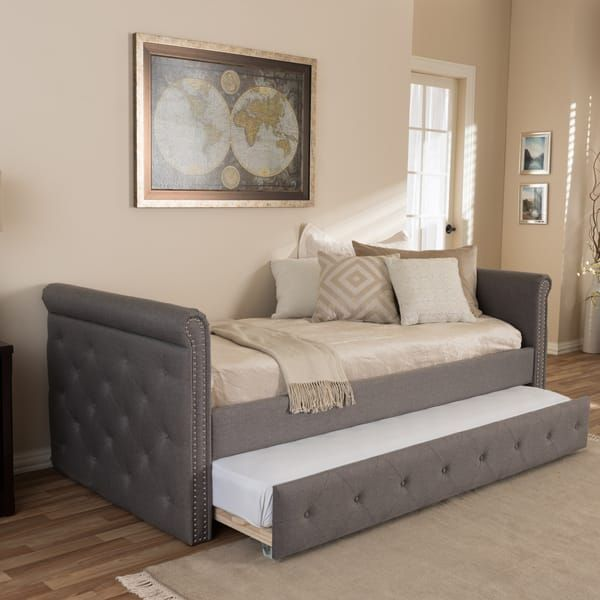 ba2096a80c2 Baxton Studio Aisopos Modern and Contemporary Grey Fabric Tufted Twin Size  Daybed with Roll-out Trundle Guest Bed