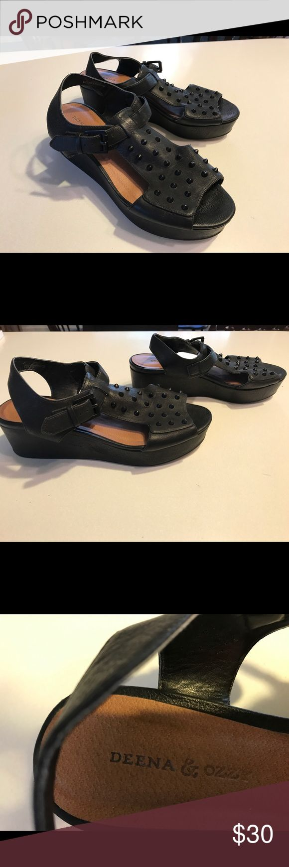 Deena & Ozzy platform sandal Deena & Ozzy black platform sandal with black spikes. Super comfy!! Deena & Oozzy Shoes Sandals