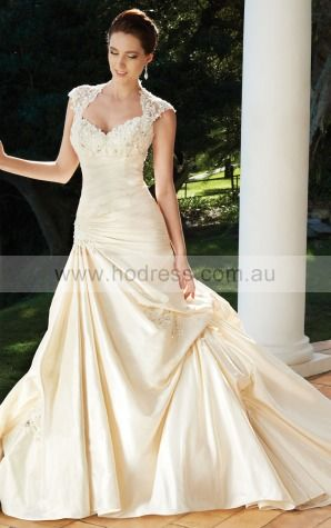 A-line Cap Sleeves Sweetheart Backless Floor-length Wedding Dresses feaf1041--Hodress