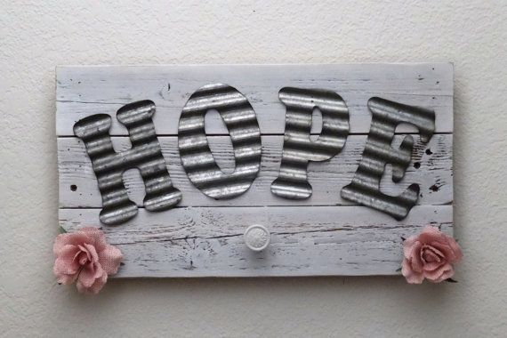 This beautiful Country Chic sign measures approximately 10 x 19. It was crafted with reclaimed wood and features the word Hope with 5 1/2