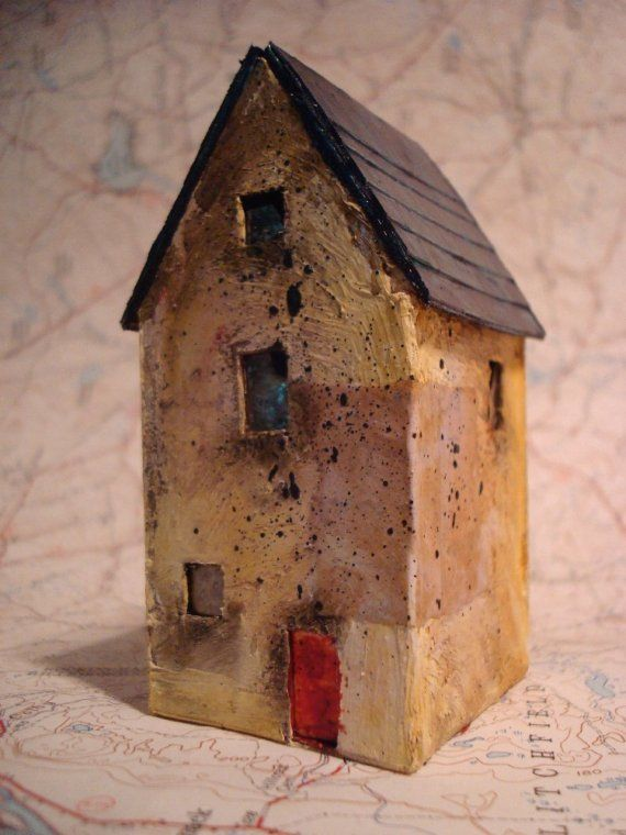 3 inches tall•Materials: paper, paint, cardboard, mica Miniature Abandoned House Sculpture - 55 Chestnut Hill Rd - 3 inches tall