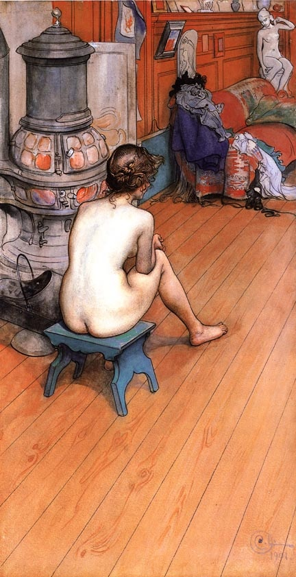 Leontine Sitting in the Atelier ~ Carl Larsson For God's sake, someone get her a bathrobe.