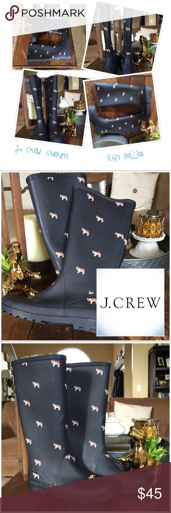 Sherpa Lined Rain Boots J. Crew Adorable J. Crew St. Bernard Navy Blue Wellies. These are so comfy and keep your feet warm and dry on those cold drizzling days. Sherpa lined - NOT typical rain boots. These have not been worn often but please zoom in and examine to your satisfaction.   •Smoke free, hypoallergenic pet friendly home; we have a Morkie   •No props included J. Crew Shoes Winter & Rain Boots