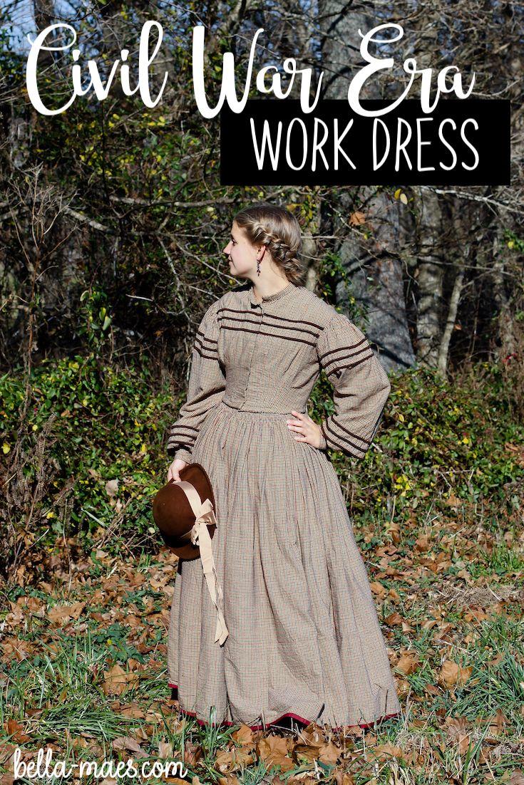 12dd8a330795f 1860's Work Dress – Civil War Era – Homespun Fabric from JoAnns  #inspiration #sewinginspiration #historicalcostume #sewingjourney  #sewingtips #costumedesign ...