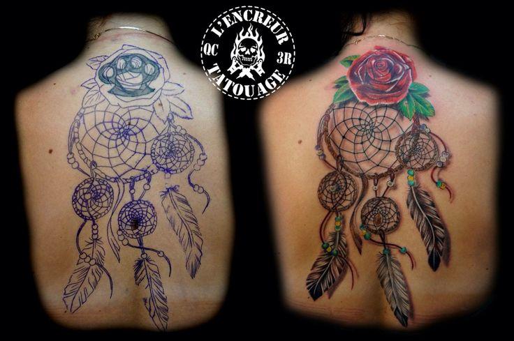 Un p'tit 4:30 pour ce cover up #tattoo #dreamcatcher #coverup #rose