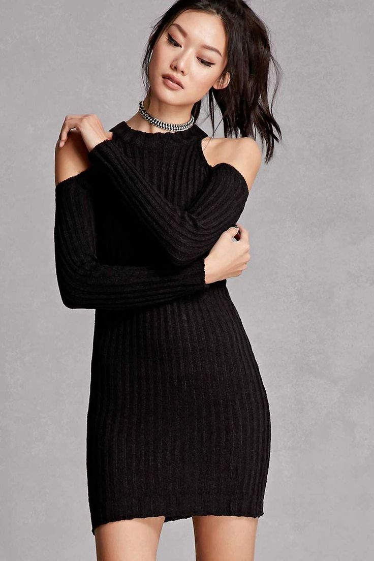 A ribbed knit bodycon dress featuring an open-shoulder design, round neckline, and long sleeves. This is an independent brand and not a Forever 21 branded item.