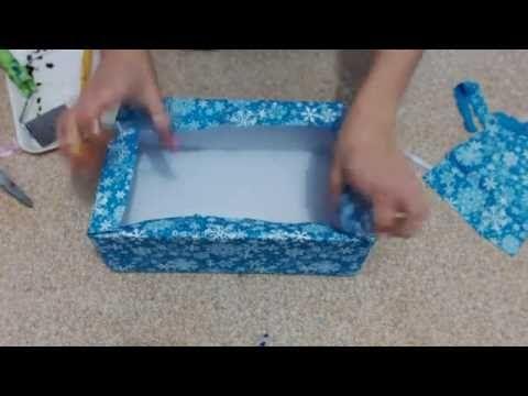 Forrando caixa de sapato com tecido - maleta com caixa de sapato
