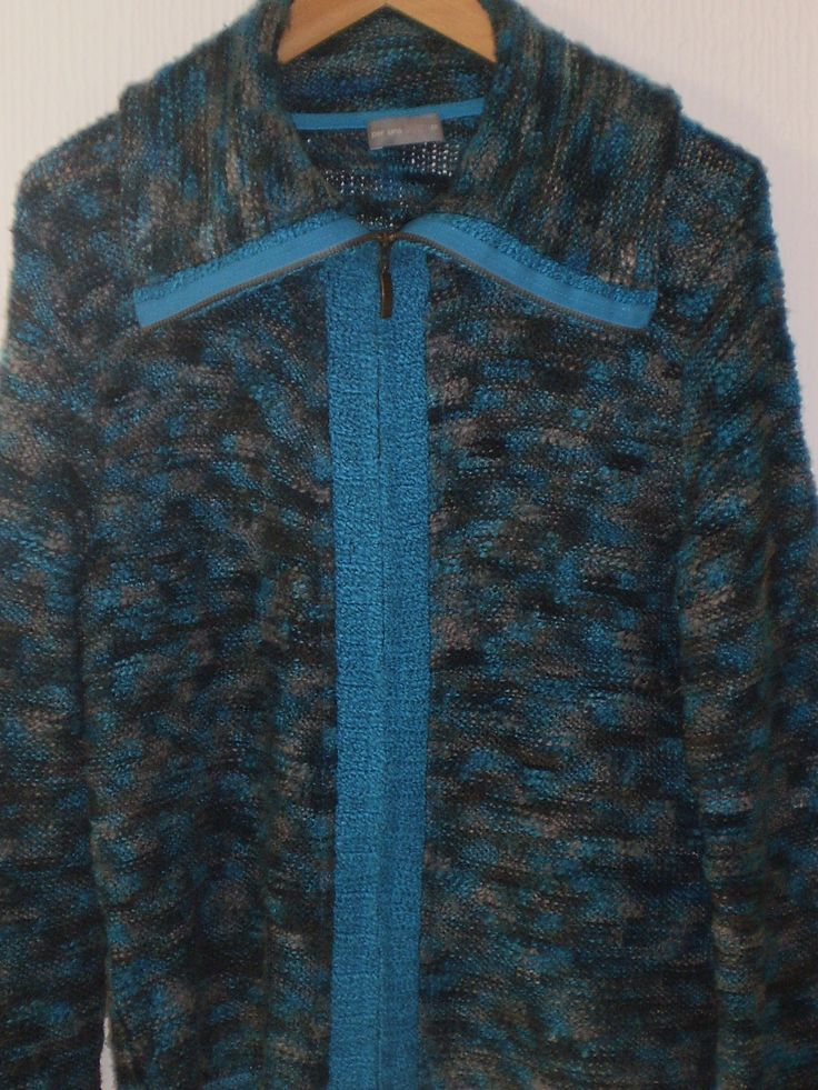 Per Una Multi Coloured Zip up Knit Jacket Cardigan Jumper Top Size M