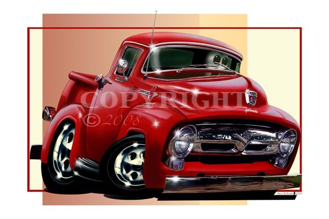1956 ford f100 pickup truck automotive cartoon car art for Ebay motors cars trucks