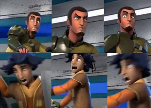 Observe the many facial expressions of Kanan and Ezra. So, this is what Jedi do in their free time.
