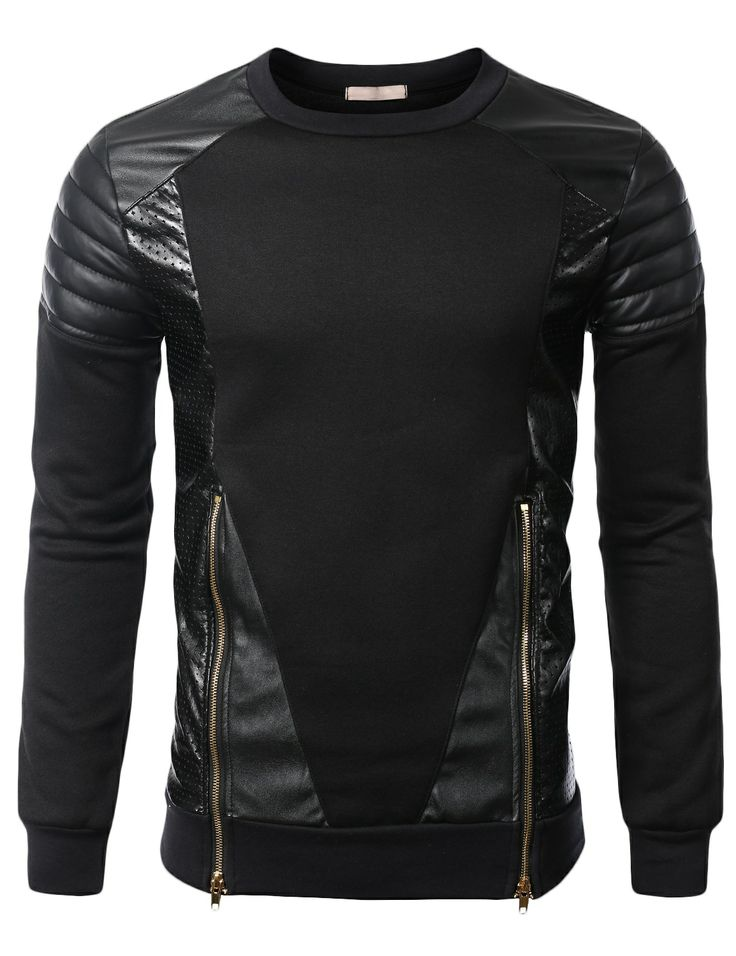 SMITHJAY Mens Hip-Hop Leather Padding Power Shoulder Sweatshirt w/ Zipper Trim #smithjay