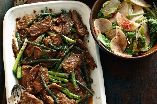The pork is a variation of bulgogi, Korean barbecued beef. Kim chi is Korean spicy pickled vegies, usually cabbage, that are served with meats.