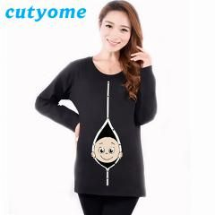 [ 29% OFF ] Fashion Pregnancy Women T Shirt Winter Maternity Long Sleeve Fancy Pregnant Top Comfortable Cotton Tees Premama Wear Clothing