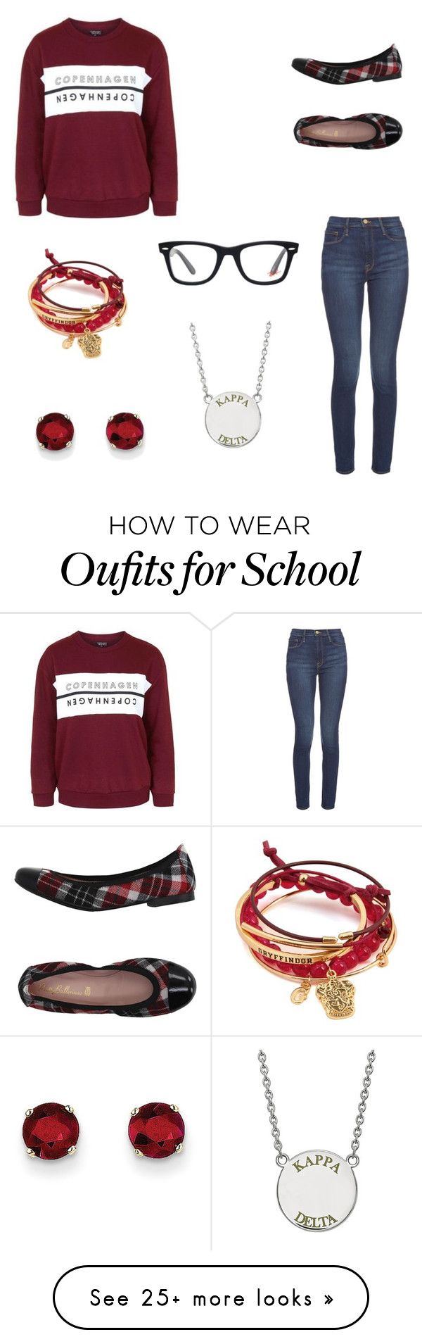 """""""Private school"""" by destinyl734 on Polyvore featuring Topshop, Frame Denim, Pretty Ballerinas, Kevin Jewelers and Ray-Ban"""