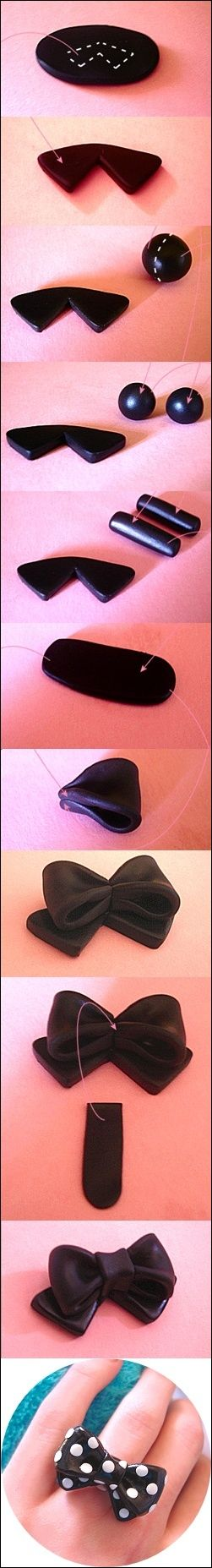 Polymer clay bow ring tutorial
