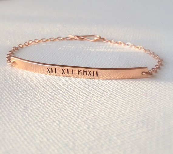 Roman Numeral Date Bracelet - Rose Gold Bracelet - Personalized Bar Bracelet - Custom Stamped Bracelet - Save the Date