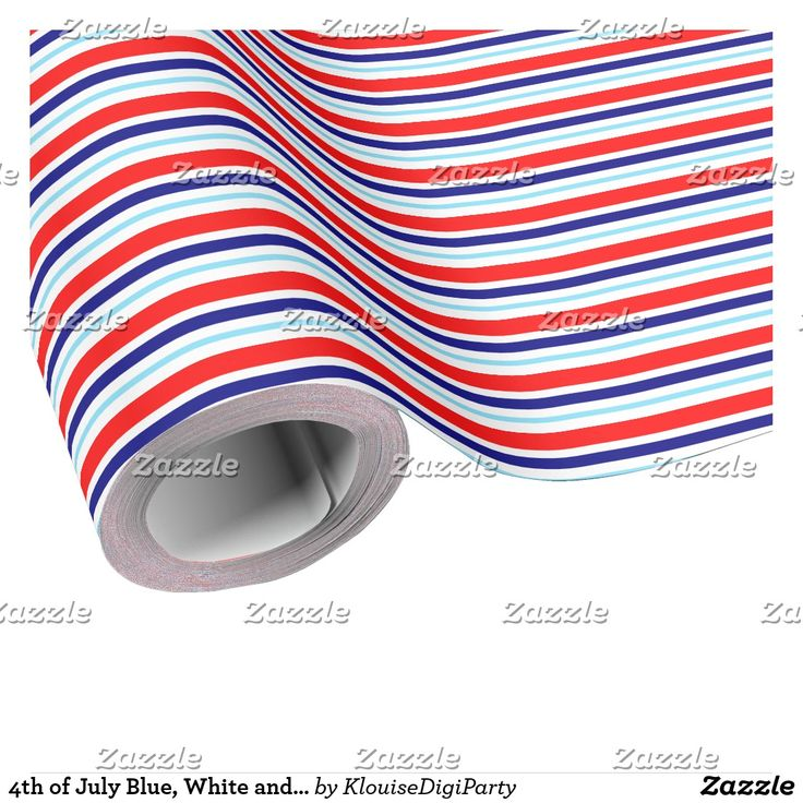 4th of July Blue, White and Red Stripes Pattern Wrapping Paper