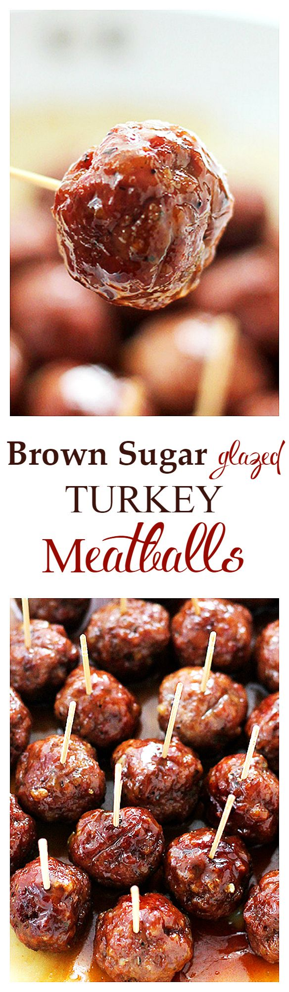 {USA} These Brown Sugar-Glazed Turkey Meatballs pack a bite-size punch of sweet and spicy, juicy and delicious! Perfect as an appetizer or dinner!